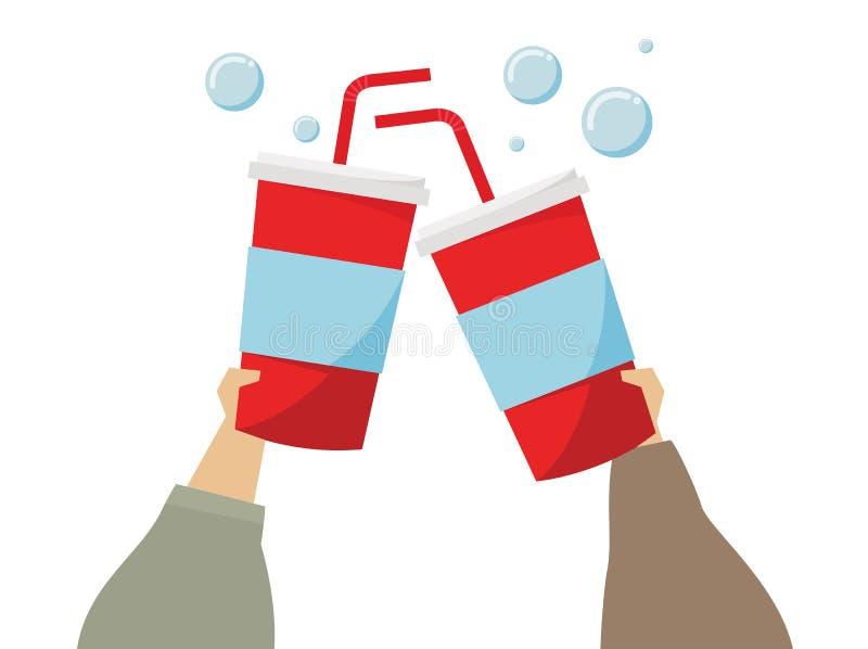 Απεικόνιση των χεριών που κρατά τα ποτά σόδας διανυσματική απεικόνιση