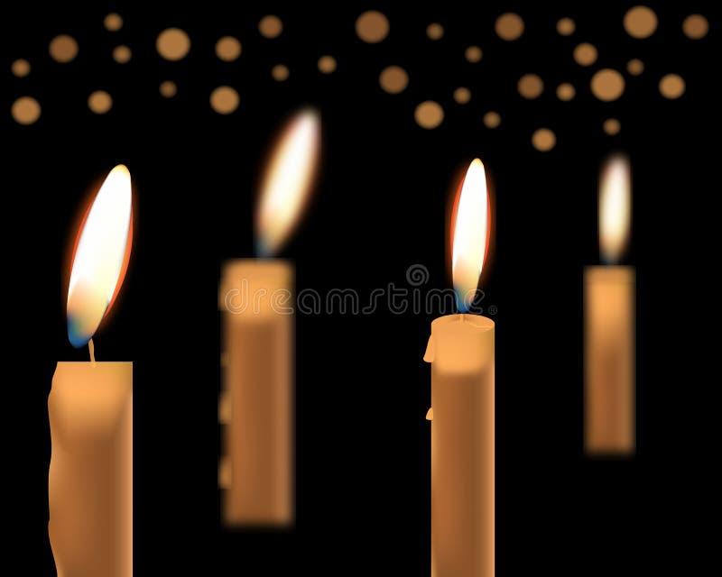 Απεικόνιση των όμορφων καμμένος κεριών με το λειωμένο κερί απεικόνιση αποθεμάτων