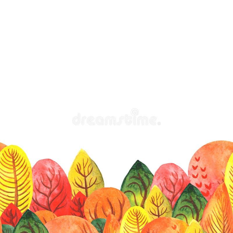 Απεικόνιση υδατογραφήματος αρμονικό πλαίσιο στο κάτω άκρο ενός φθινοπωριακού δάσους σε λευκό φόντο χώρος για κείμενο διανυσματική απεικόνιση