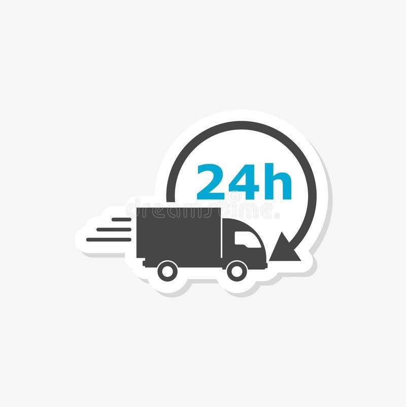 Απεικόνιση υπηρεσιών παράδοσης, αυτοκόλλητη ετικέττα φορτηγών παράδοσης απεικόνιση αποθεμάτων