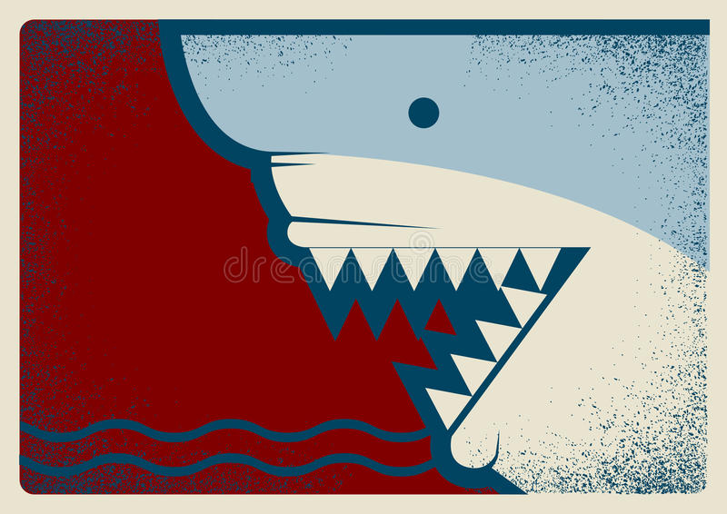 Απεικόνιση υποβάθρου αφισών καρχαριών για το σχέδιο διανυσματική απεικόνιση