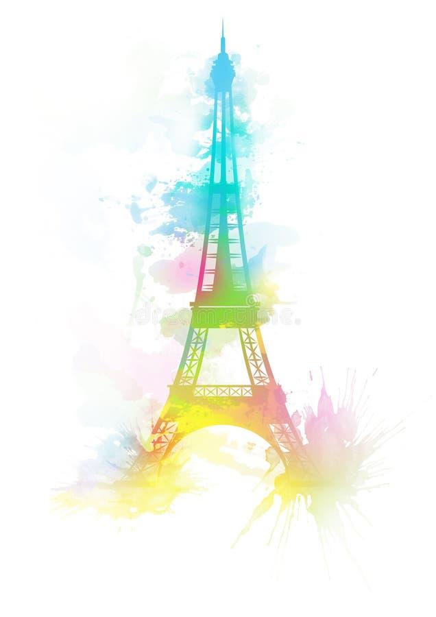Απεικόνιση υποβάθρου watercolor πύργων του Άιφελ διανυσματική απεικόνιση