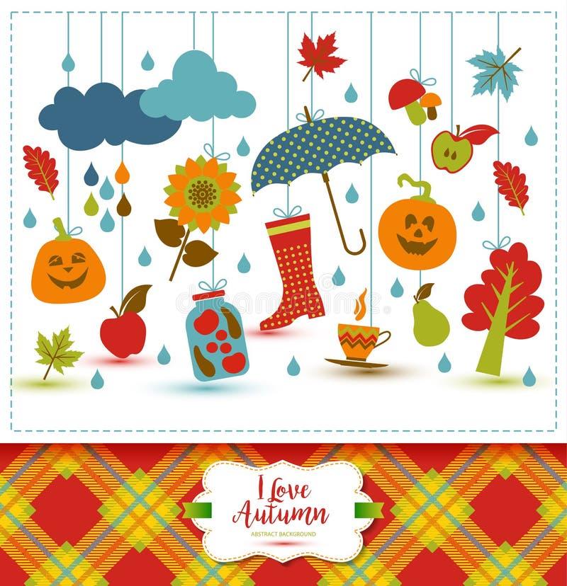Απεικόνιση φθινοπώρου με τα επίπεδα εικονίδια Φωτεινό διανυσματικό υπόβαθρο αβ διανυσματική απεικόνιση