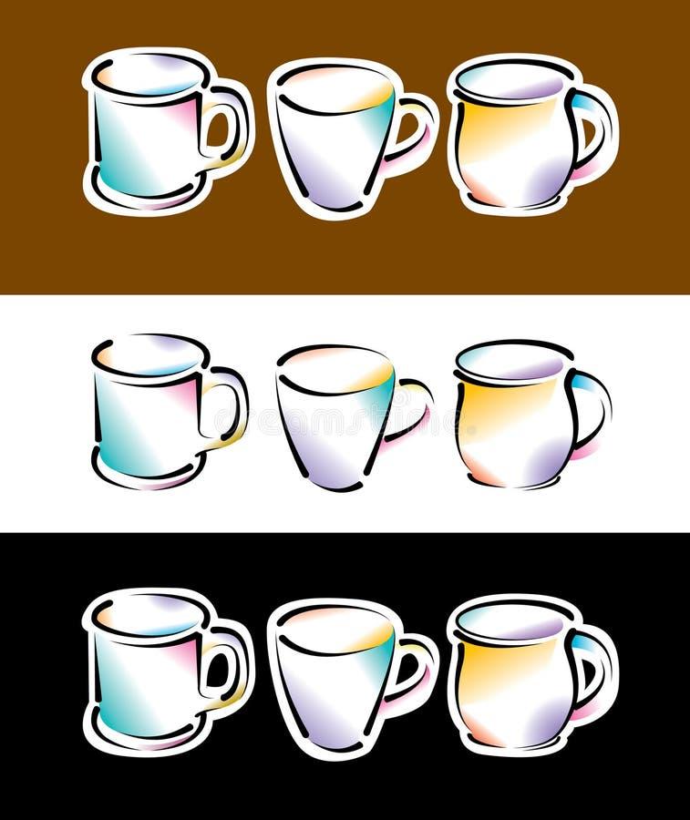 απεικόνιση φλυτζανιών κα&ph διανυσματική απεικόνιση