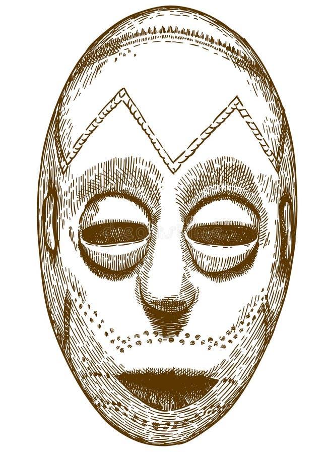 Απεικόνιση χάραξης της αφρικανικής μάσκας διανυσματική απεικόνιση