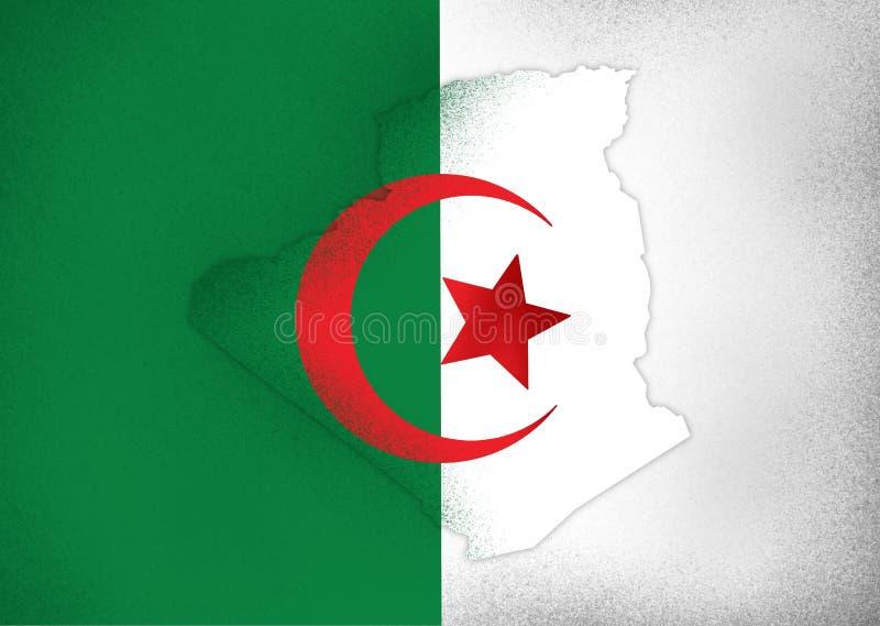 Απεικόνιση χάρτη σημαίας της Αλγερίας στοκ φωτογραφία με δικαίωμα ελεύθερης χρήσης