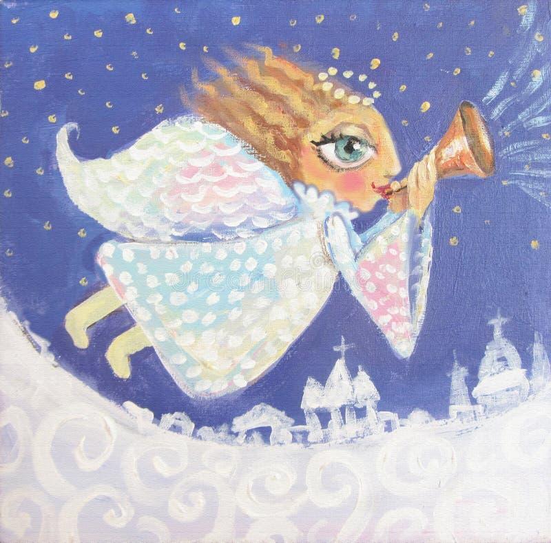 Απεικόνιση χαριτωμένου λίγος άγγελος Χριστουγέννων με τη σάλπιγγα Χρωματισμένη χέρι εικόνα Χριστουγέννων ελεύθερη απεικόνιση δικαιώματος