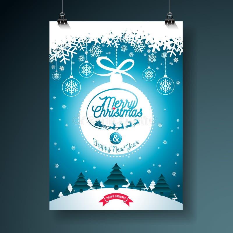 Απεικόνιση Χαρούμενα Χριστούγεννας με την τυπογραφία και διακόσμηση διακοσμήσεων στο υπόβαθρο χειμερινών τοπίων Διανυσματικά Χρισ απεικόνιση αποθεμάτων