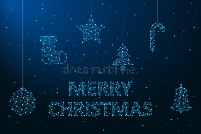 Απεικόνιση Χαρούμενα Χριστούγεννας που γίνεται από τα σημεία και τις γραμμές, polygonal πλέγμα wireframe, διακοσμήσεις Χριστουγέν διανυσματική απεικόνιση