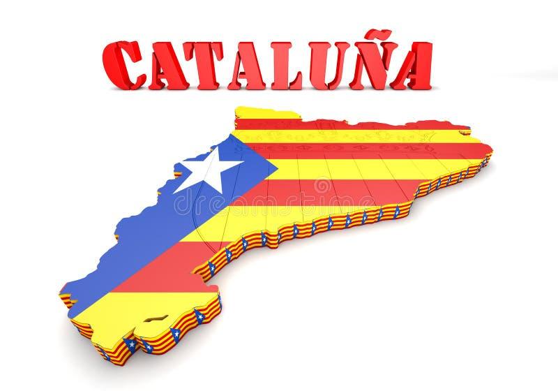 Απεικόνιση χαρτών της Καταλωνίας με τη σημαία στοκ φωτογραφία με δικαίωμα ελεύθερης χρήσης