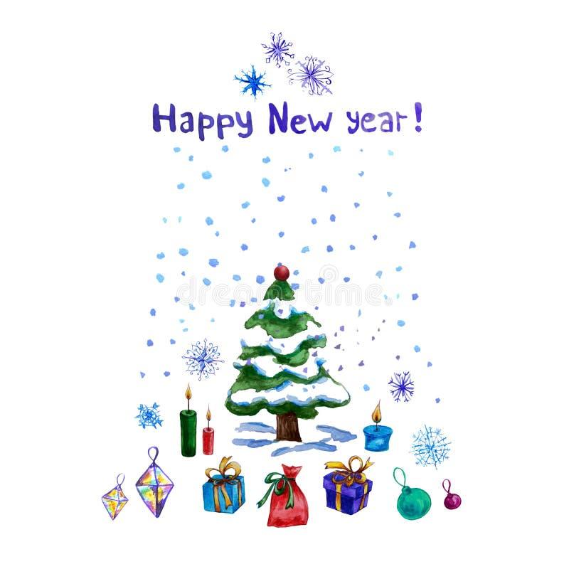 Απεικόνιση χειμερινού watercolor με ένα χριστουγεννιάτικο δέντρο, τα δώρα, snowflakes, τα κεριά και το χιόνι διανυσματική απεικόνιση