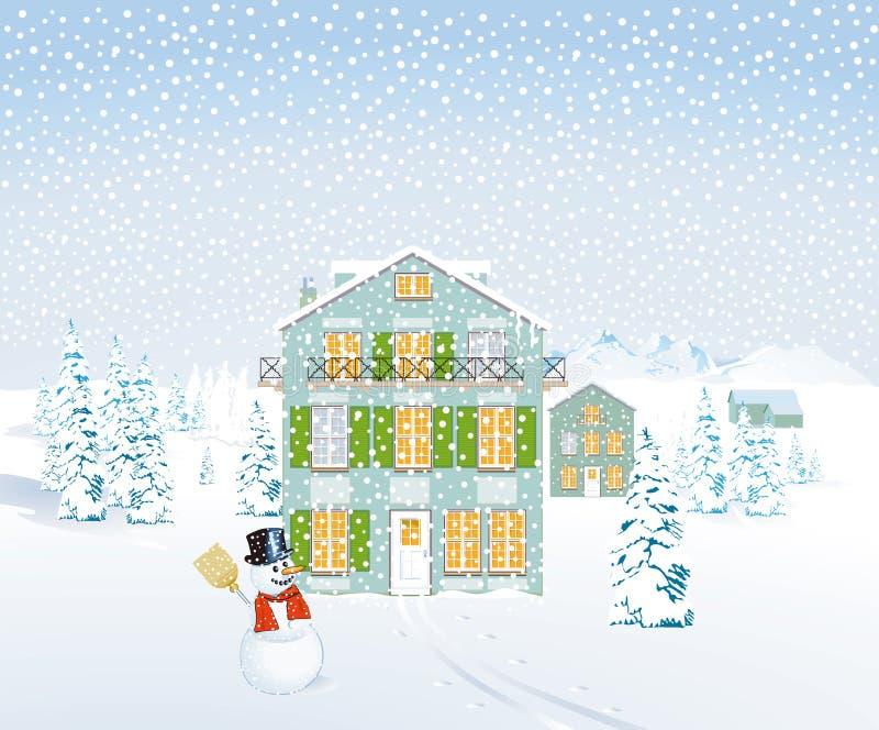 Απεικόνιση χειμερινών τοπίων διανυσματική απεικόνιση