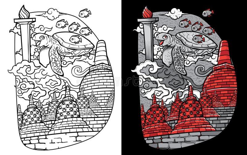 Απεικόνιση χελωνών και borobudur της Ινδονησίας πηγών συνήθειας doodle απεικόνιση αποθεμάτων