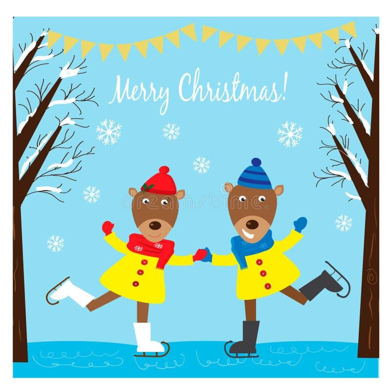 Απεικόνιση Χριστουγέννων με τα αστεία deers που κάνουν πατινάζ στον πάγο διανυσματική απεικόνιση