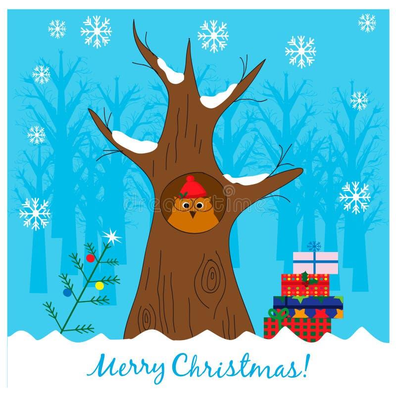 Απεικόνιση Χριστουγέννων με τη χαριτωμένη κουκουβάγια σε ένα κοίλο δέντρο ελεύθερη απεικόνιση δικαιώματος
