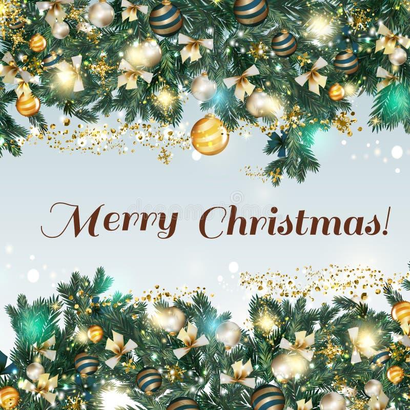 Απεικόνιση Χριστουγέννων με το δέντρο γουνών, τα τόξα, snowflakes και τα μπιχλιμπίδια φ απεικόνιση αποθεμάτων