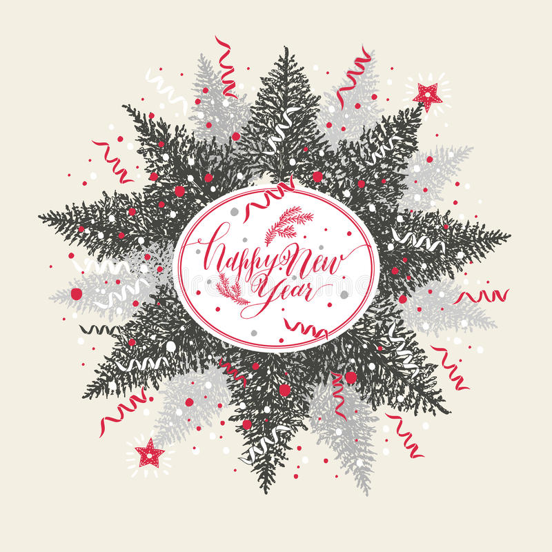 Απεικόνιση Χριστουγέννων με το καλλιγραφικά κείμενο και το δέντρο ελεύθερη απεικόνιση δικαιώματος