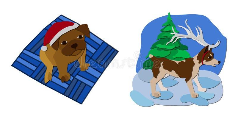 Απεικόνιση Χριστουγέννων σκυλιά ελεύθερη απεικόνιση δικαιώματος