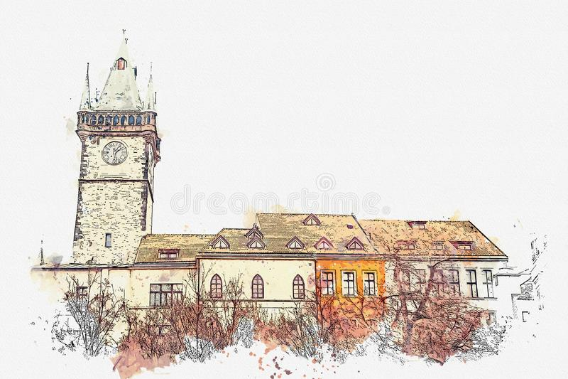 απεικόνιση Όμορφα ιστορικά κτήρια με τα κόκκινα κεραμίδια στη στέγη και τον πύργο ρολογιών στο τετράγωνο στην Πράγα ελεύθερη απεικόνιση δικαιώματος