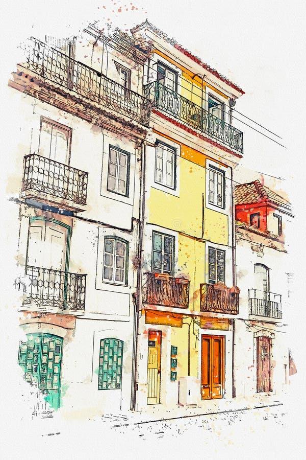απεικόνιση Όμορφα παλαιά σπίτια στην οδό στη Λισσαβώνα στην Πορτογαλία ελεύθερη απεικόνιση δικαιώματος