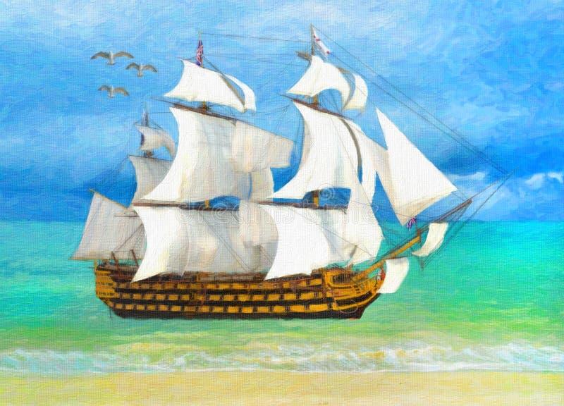 Απεικόνιση ύφους ζωγραφικής του ψηλού σκάφους κοντά στην παραλία ελεύθερη απεικόνιση δικαιώματος