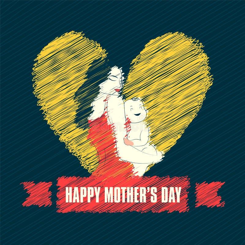 Απεικόνιση ύφους κακογραφίας της μητέρας που αγκαλιάζει στο νήπιό της επ' ευκαιρία της ημέρας της ευτυχούς μητέρας διανυσματική απεικόνιση
