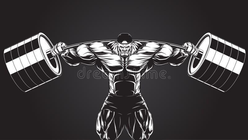 Απεικόνιση: bodybuilder με ένα barbell διανυσματική απεικόνιση