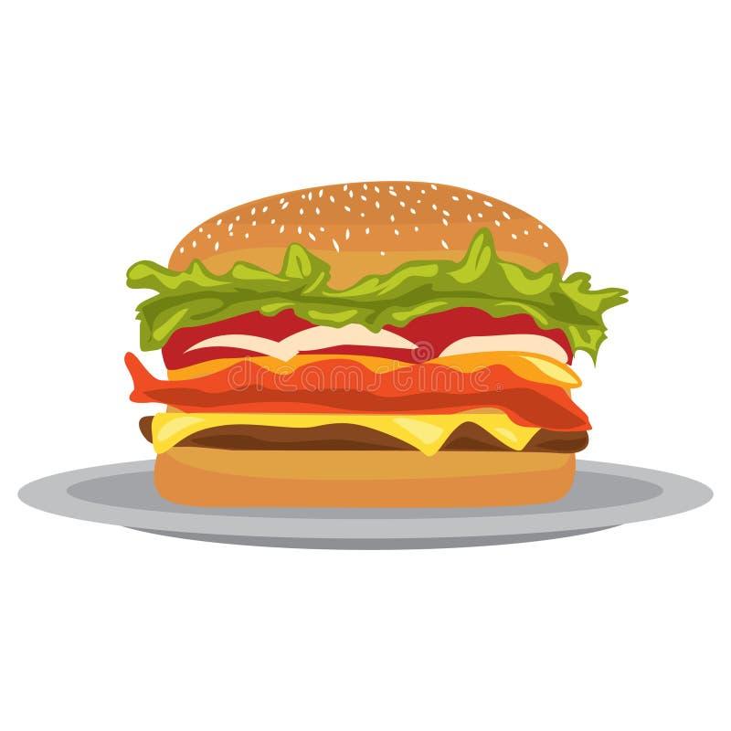 Απεικόνιση Burger σε ένα επίπεδο ύφος σχεδίου Απεικόνιση επίπεδο burger γρήγορου φαγητού σχεδίου Burgers σε ένα πιάτο διανυσματική απεικόνιση