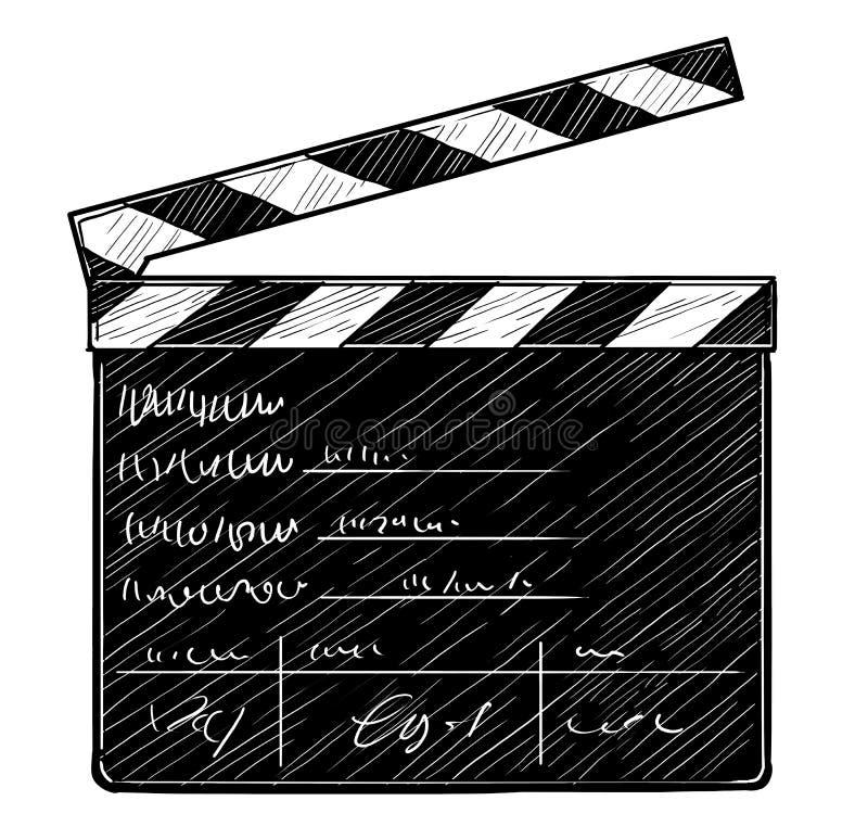 Απεικόνιση Clapperboard, σχέδιο, χάραξη, μελάνι, τέχνη γραμμών, διάνυσμα απεικόνιση αποθεμάτων