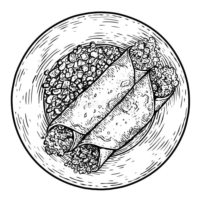Απεικόνιση Enchilada, σχέδιο, χάραξη, μελάνι, τέχνη γραμμών, διάνυσμα ελεύθερη απεικόνιση δικαιώματος