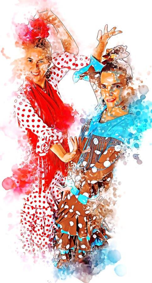 Απεικόνιση Flamenco των χορευτών σε ένα χαρακτηριστικό κοστούμι τσιγγάνων από τη Σεβίλη ελεύθερη απεικόνιση δικαιώματος