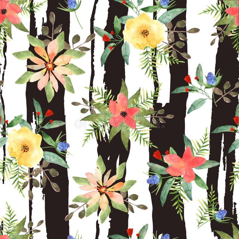 Απεικόνιση floral άνευ ραφής Ζωηρόχρωμα λουλούδια με τις λουρίδες διανυσματική απεικόνιση