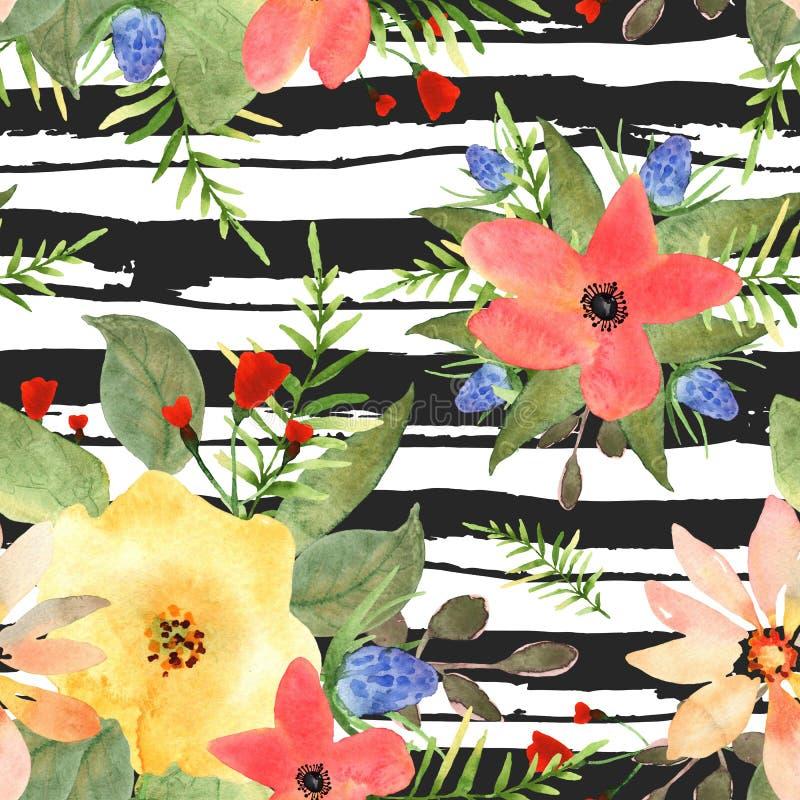 Απεικόνιση floral άνευ ραφής Ζωηρόχρωμα λουλούδια με το μαύρο stri ελεύθερη απεικόνιση δικαιώματος