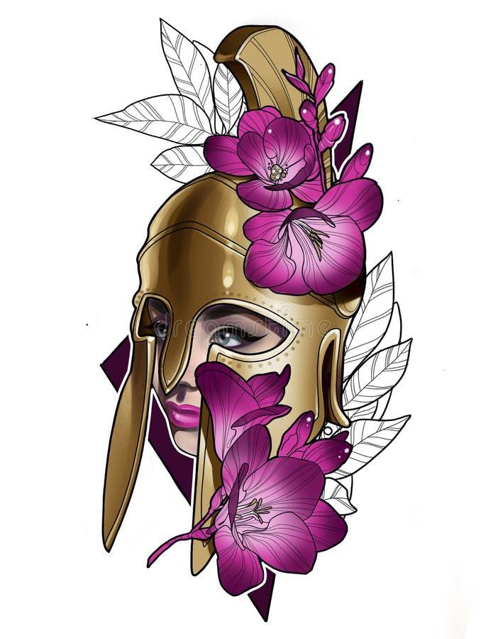 Απεικόνιση Gladiator πολεμιστών κοριτσιών σε ένα κράνος και με τα λουλούδια απεικόνιση αποθεμάτων