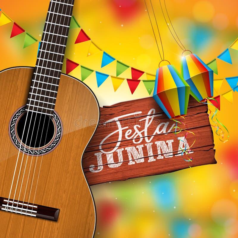 Απεικόνιση Junina Festa με την ακουστική κιθάρα, τις σημαίες κόμματος και το φανάρι εγγράφου στο κίτρινο υπόβαθρο Τυπογραφία επάν απεικόνιση αποθεμάτων