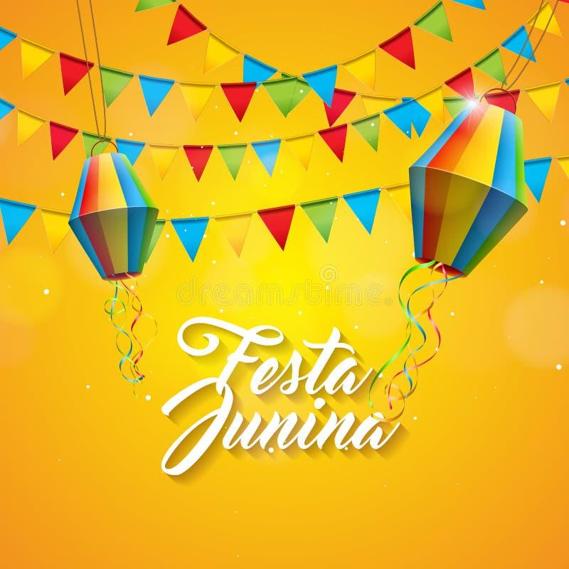 Απεικόνιση Junina Festa με τις σημαίες κόμματος και φανάρι εγγράφου στο κίτρινο υπόβαθρο Διανυσματικό σχέδιο φεστιβάλ της Βραζιλί διανυσματική απεικόνιση