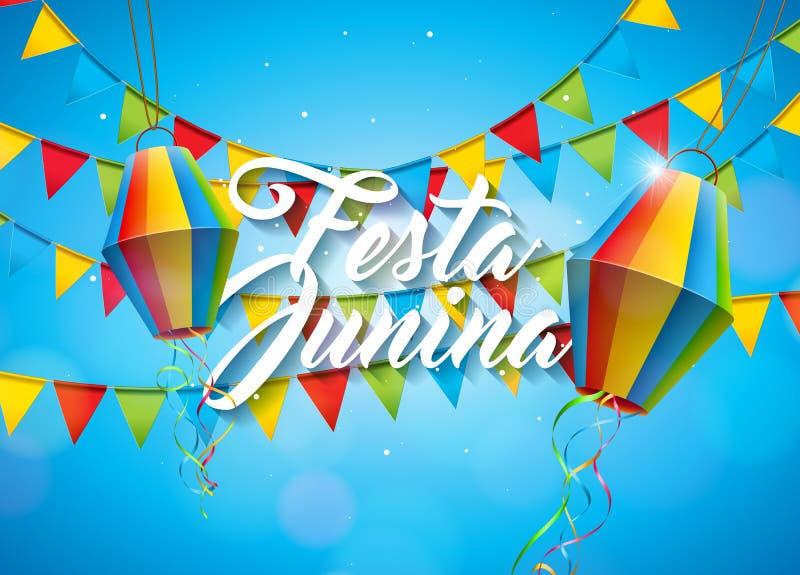Απεικόνιση Junina Festa με τις σημαίες κόμματος και φανάρι εγγράφου στο κίτρινο υπόβαθρο Διανυσματικό σχέδιο φεστιβάλ της Βραζιλί απεικόνιση αποθεμάτων