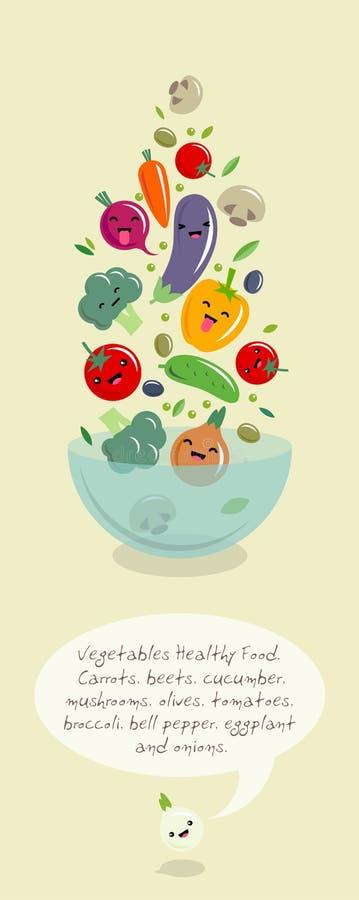 Απεικόνιση kawaii λαχανικών Πολύχρωμη μύγα λαχανικών πέρα από ένα μεγάλο κύπελλο σαλάτας ιαπωνικό ύφος απεικόνιση αποθεμάτων