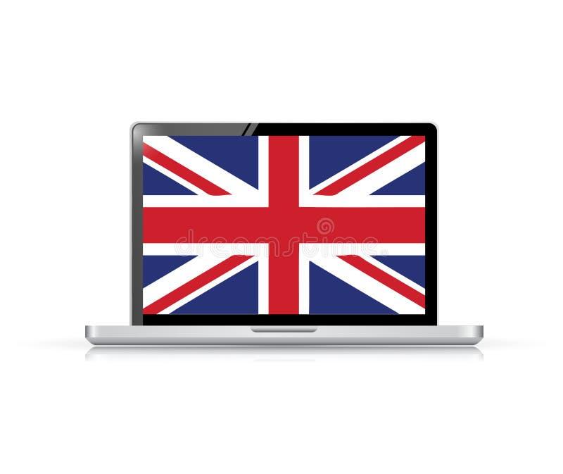 απεικόνιση lap-top υπολογιστών βρετανικών σημαιών διανυσματική απεικόνιση