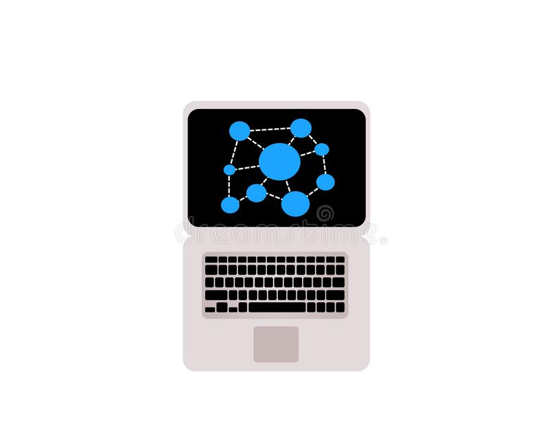 Απεικόνιση lap-top ως σύμβολο της εργασίας και των επικοινωνιών διανυσματική απεικόνιση