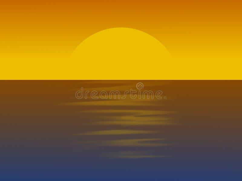 Απεικόνιση Minimalistic που παρουσιάζει το ηλιοβασίλεμα πέρα από τον ωκεανό διανυσματική απεικόνιση