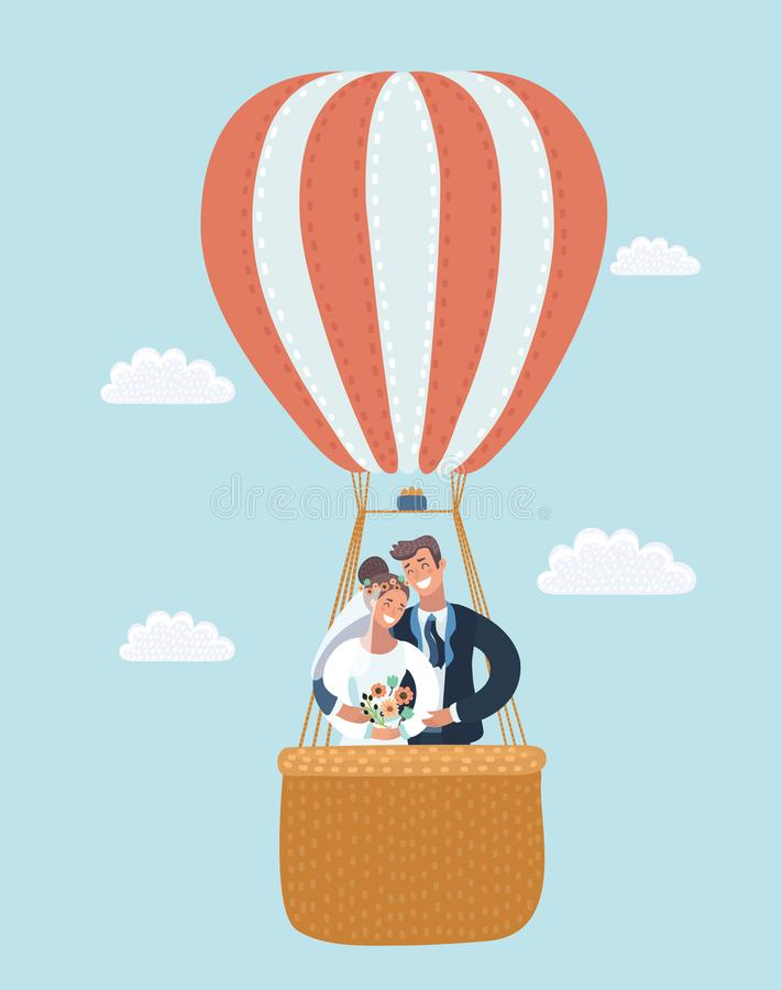 Απεικόνιση Newlyweds σε ένα μπαλόνι ζεστού αέρα διανυσματική απεικόνιση