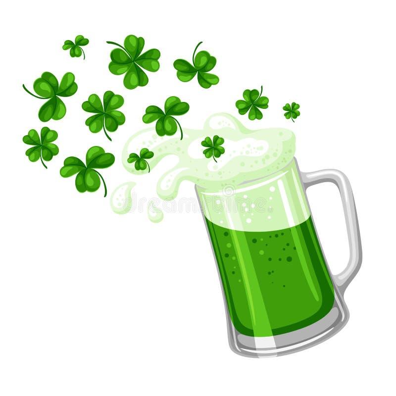 απεικόνιση patricks Άγιος ημέρας Αγγλική μπύρα ή μπύρα στην κούπα με το τριφύλλι απεικόνιση αποθεμάτων