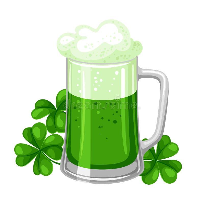 απεικόνιση patricks Άγιος ημέρας Αγγλική μπύρα ή μπύρα στην κούπα με το τριφύλλι διανυσματική απεικόνιση