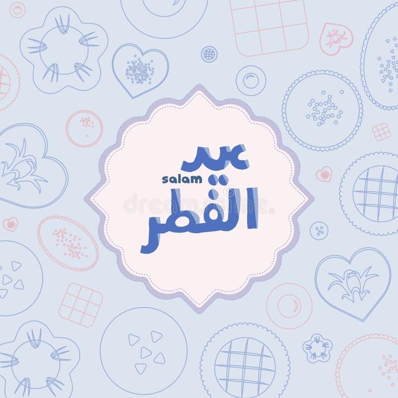 Απεικόνιση Salam Aidilfitri και αραβική μετάφραση χαιρετισμών κειμένων Eid Μουμπάρακ αγγλική να προγευματίσει ημέρας εορτασμού ελεύθερη απεικόνιση δικαιώματος