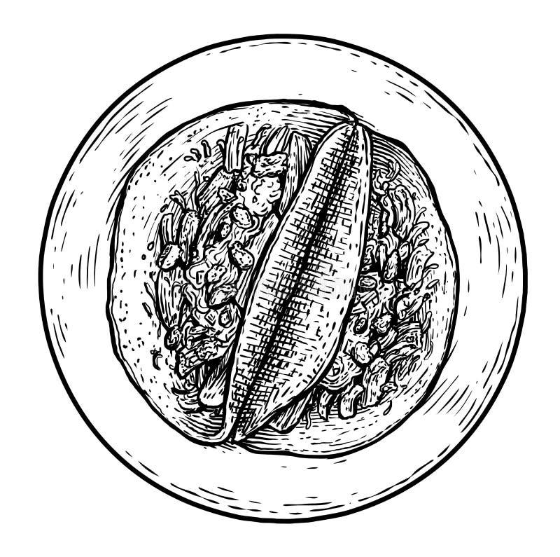 Απεικόνιση Tacos, σχέδιο, χάραξη, μελάνι, τέχνη γραμμών, διάνυσμα απεικόνιση αποθεμάτων
