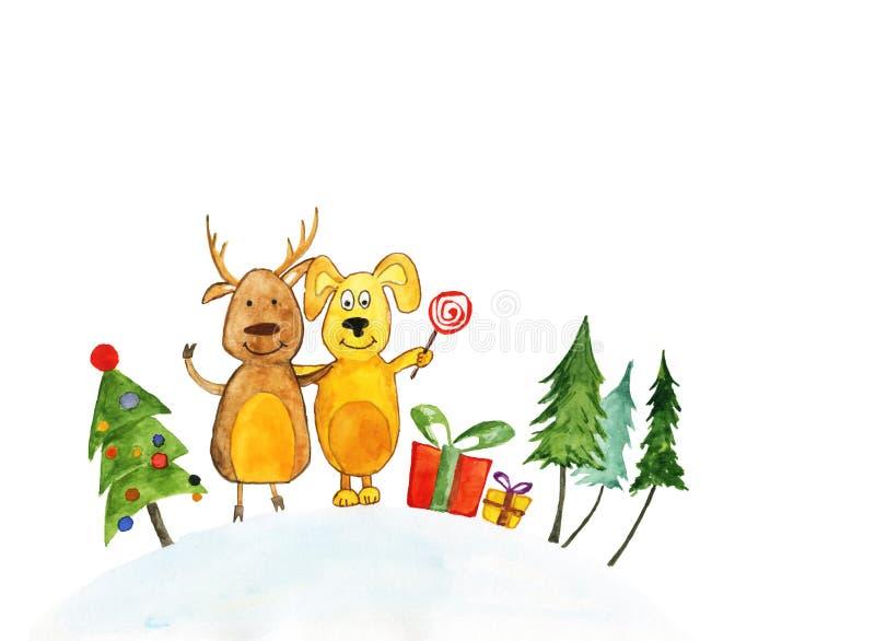 Απεικόνιση Watercolor: Ελάφια και ένα σκυλί κοντά στο χριστουγεννιάτικο δέντρο, παρόντα κιβώτια απεικόνιση αποθεμάτων