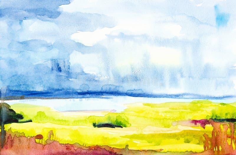 Απεικόνιση Watercolor ενός ρωσικού τομέα με ένα δάσος στο υπόβαθρο ελεύθερη απεικόνιση δικαιώματος
