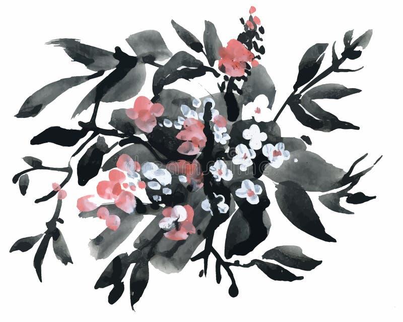 Απεικόνιση Watercolor και μελανιού των ανθίζοντας λουλουδιών ελεύθερη απεικόνιση δικαιώματος
