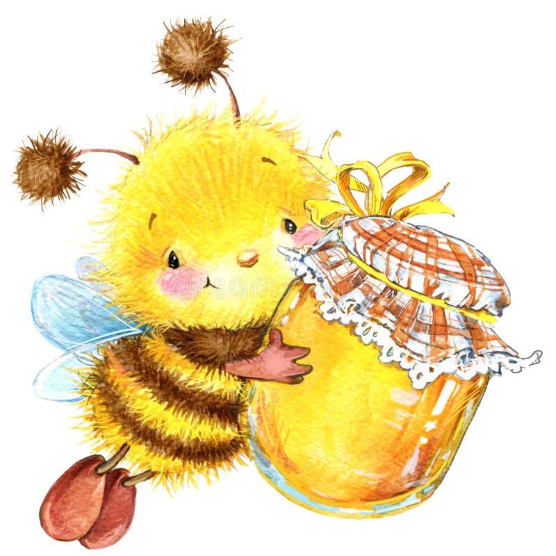Απεικόνιση watercolor μελισσών εντόμων κινούμενων σχεδίων Ι διανυσματική απεικόνιση